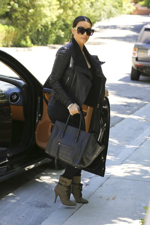 Spotted: Kim Kardashian in Rick Owens Corduroy Blistered Leather ...